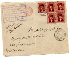 Lettre Par Avion Du Caire(14.02.1940) Pour Beyrouth_via Damas_Censure Britannique_censorship_Congres Medical Egypte - Lettres & Documents