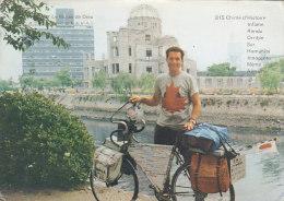 Japan - Hiroshima - Globe Trotter Golbetrotter Traveller W Bicycle Canada Flag Postcard - Hiroshima
