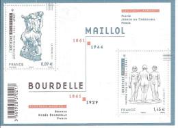 Bloc Feuillet Neuf De France,2011,  Art, Sculpteurs, Bourdelle, Maillol, Centaure Mourant, Les Trois Nymphes - Sculpture