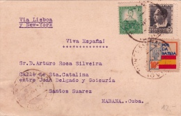 01860 Tarjeta Postal Habana Cuba- Via Lisboa Y New York - Censura Militar - Marcas De Censura Nacional