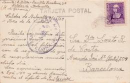 01861 Tarjeta Postal De Caldes De Malavella A Barcelona - Censura Militar - Marcas De Censura Nacional