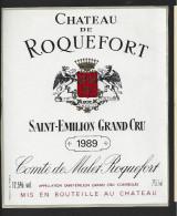 Etiquette De Vin -   Chateau De Roquefort  -  Saint Emilion Grand Cru Controlée  -  1989 - Bordeaux