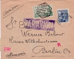 01872 Carta De Valencia A Berlin Correo Aereo- Censura Militar - Marcas De Censura Nacional