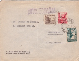 01873 Carta De Pontevedra A Birminghan - Inglaterra - Marcas De Censura Nacional