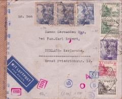 01876 Carta De Madrid A Durlach-Karlsruhe - Censura Militar - Marcas De Censura Nacional