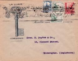 01879 Carta De Sevilla A Birmingham-Inglaterra- Censura Militar - Marcas De Censura Nacional