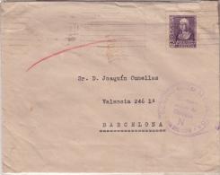 01881 Carta San Sebastian A Barcelona  - Censura Militar Guipuzcoa - Marcas De Censura Nacional