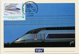 FRANCE (2014). Carte Maximum Card MTAM Montimbramoi - FERPHILEX 2014 - Poitiers 2014 - TGV (train, Railway) - France