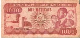 BILLETE DE MOZAMBIQUE DE 1000 METICAIS DEL AÑO 1989 (BANKNOTE) (rotura) - Mozambique