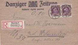 Pologne,lettre Recommandée De GDANSK ( DANZIG) ,DANZIGER ZEITUNG, 1921  (p35) - Covers & Documents
