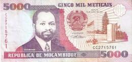 BILLETE DE MOZAMBIQUE DE 5000 METICAIS DEL AÑO 1991 (BANKNOTE) - Mozambique
