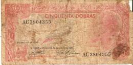 BILLETE DE SAO TOME E PRINCIPE DE 50 DOBRAS DEL AÑO 1977 (RARO) (BANKNOTE) (rotura) - San Tomé Y Príncipe