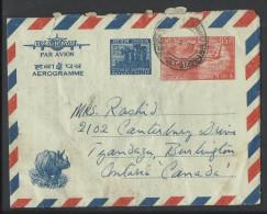 India 1972 Aerogramme Airletter 85c, Rhino,Wild Life, India Refugee Relief 5p, India Airmail To Pakistan, - Aerograms