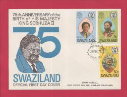 SWAZILAND, 1974,  Mint FDC , King Sobhuza II 75 Years,  Nr(s) 211-213, F 3454 - Swaziland (1968-...)