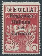 1920 VEGLIA REGGENZA DEL CARNARO 10 CENT II TIPO MNH ** - ED214 - 8. Besetzung 1. WK
