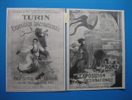 Lot De 2 Publicités 1911  -  EXPOSITIONS INTERNATIONALES De ROME Et TURIN Par Les Chemins De Fer P.L.M. - Advertising