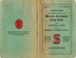L 8 - Petit Manuel D´instructions Pour L´emploi Et Montage Des Moteurs Electriques SINGER B.R.K Machines à Coudre - Herstelhandleidingen