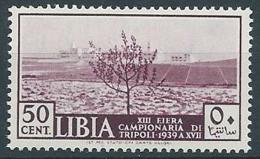 1939 LIBIA 13° FIERA DI TRIPOLI 50 CENT MNH ** - ED226 - Libia