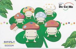 Télécarte Prépayée Japon - CHAMPIGNON & TREFLE  - MUSHROOM Japan Prepaid Phonecard - PILZ - SETA - FUNGO * DOCOMO * - 80 - Giappone