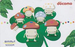 Télécarte Prépayée Japon - CHAMPIGNON & TREFLE  - MUSHROOM Japan Prepaid Phonecard - PILZ - SETA - FUNGO * DOCOMO * 81 - Fiori