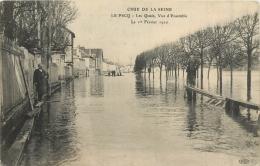 LE PECQ CRUE 1910 LES QUAIS VUE D'ENSEMBLE - Le Pecq