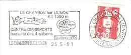 CACHET OBLITERATION FLAMME LE CHAMBON SUR LIGNON CENTRE OMNISPORTS  ENVELOPPE 16X11 - 1921-1960: Modern Tijdperk