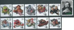 USA 2005 Jim Henson And The Muppets Set Of 11 11x37c USED SC 3944a-h YV B3704-14 MI 3982-92 SG 4482a-k - Etats-Unis