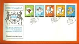 BOTSWANA, 1971, MNH F.D.C., 5 Years Independence, Nr(s) 75-79, F3145 - Botswana (1966-...)