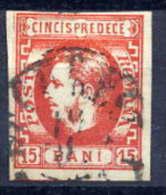 ROMANIA 1869 15 Bani Red, Fine Used - 1858-1880 Moldavia & Principality