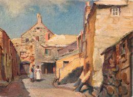 Pudding Bag Lane, Herbert Truman, St Ives, Cornwall, England Postcard Sweetman Fac-sim-oil-colour - St.Ives