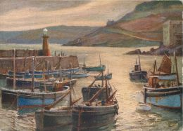 Morning Harbour, Herbert Truman, St Ives, Cornwall, England Postcard Sweetman Fac-sim-oil-colour #1 - St.Ives