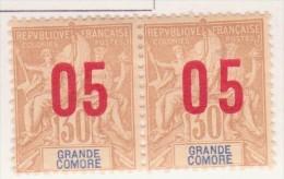 Grande Comore 1912 N°25 à 25A Se Tenant - Grote Komoren (1897-1912)