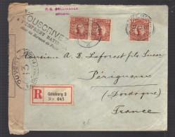 SUEDE 1917 Usages Courants Obl. S/enveloppe Recommandée Censure Miltaire Française - Schweden