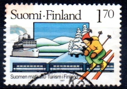 FINLAND 1987 Tourism - 1m70 Borea (liner), Diesel Train, Snow Scene And Skier  FU - Used Stamps