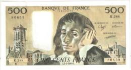 500 F Pascal - 2-2-1989 K 288 - 1962-1997 ''Francs''