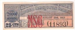 The Original Cosmopolitan Company Of San Francisco 1913 - Lottery Tickets