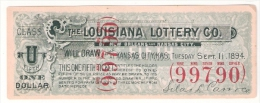 The Louisiana Lottery Co. Of New Orleans And Kansas City, 1894 - Lottery Tickets