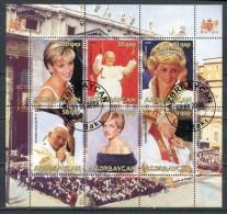 AZERBAIJAN 2008 PRINCESS DIANA POPE SHEET FANTASY USED - Fantasy Labels