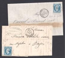 2 Lettres De BEDARIEUX Avec N° 22 Bords De Feuille - 1849-1876: Période Classique