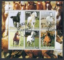 AZERBAIJAN 2008 FAUNA HORSES SHEET FANTASY USED - Azerbaïjan