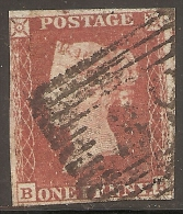 Grande-Bretagne (GB) Victoria 1841 - Penny Rouge Planche 150 BB Oblitéré 39 - Used Stamps