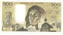 @ 500 F PASCAL  F. 2 - 6 -1983 . F.    B. 190   21740  472621740 - 1962-1997 ''Francs''