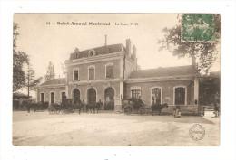 CPA 18 - Saint Amand Montrond - La Gare P.O. : Extérieur De La Gare - Animation - Attelages - Peu Commune - Saint-Amand-Montrond