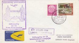 Wahn Köln London 1957 Lufthansa - Erstflug 1er Vol - Inaugural Flight - - Lettere