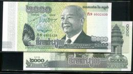 Cambodia Cambodge Banknote 2000 Riels 1 Piece UNC Temple Relic Snake Soldier Famous -scarce - Cambodia
