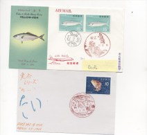 JAPON - 2 Documents Dont Un Type Mail Art - Fishes