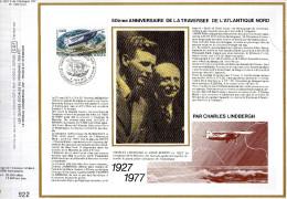 Feuillet Tirage Limité CEF 407 Soie Traversée De L´Atlantique Nord Par Charles Lindbergh Avion Aviation - Brieven En Documenten