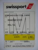 SwissAir SwissPort Boarding Pass Card Manchester UK - Malta - Billetes De Transporte