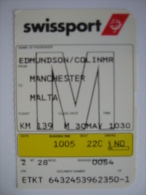 SwissAir SwissPort Boarding Pass Card Manchester UK - Malta - Otros