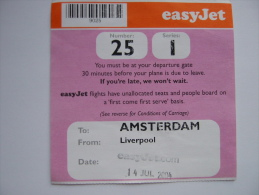 EasyJet Boarding Pass Card Amsterdam Liverpool 2004 - Billetes De Transporte